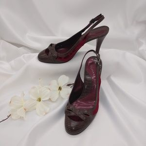 Gianni Bini Brown Croco Embossed Merlot Velvet